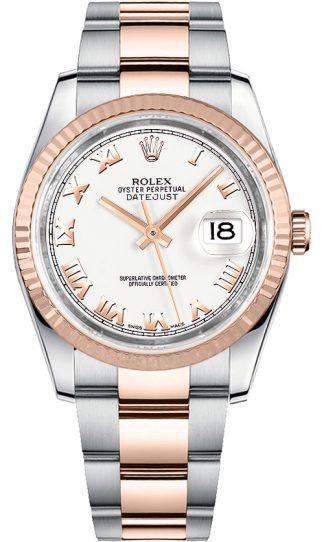 replique Rolex Datejust 36 cadran blanc à chiffres romains 116231