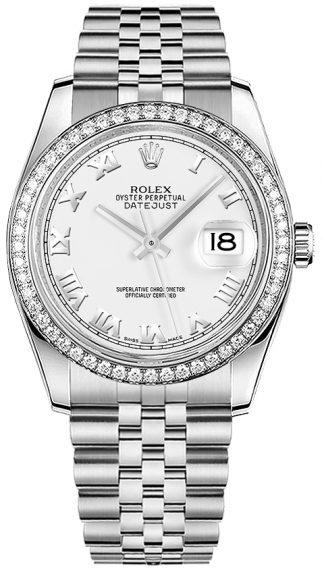 replique Rolex Datejust 36 cadran blanc à chiffres romains 116244