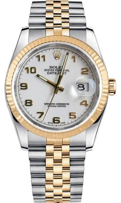 replique Rolex Datejust 36 cadran blanc lunette cannelée montre 116233