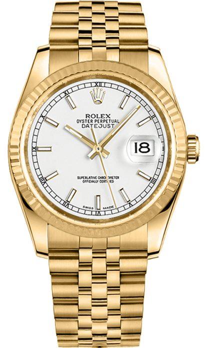replique Rolex Datejust 36 cadran blanc montre en or jaune 116238