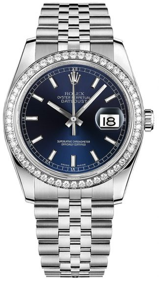 replique Rolex Datejust 36 cadran bleu Montre 116244