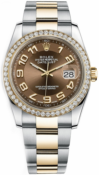 replique Rolex Datejust 36 cadran bronze lunette diamant montre 116243