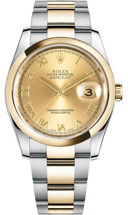 replique Rolex Datejust 36 cadran champagne acier et montre en or 116203
