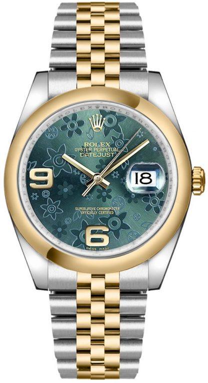 replique Rolex Datejust 36 cadran fleuri vert 116203