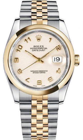 replique Rolex Datejust 36 cadran ivoire or et acier 116203