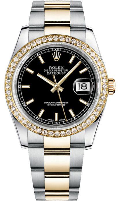 replique Rolex Datejust 36 cadran noir Diamond Bezel Watch 116243