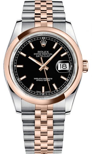 replique Rolex Datejust 36 cadran noir Jubilee Bracelet Montre 116201