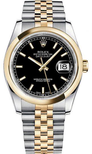 replique Rolex Datejust 36 cadran noir Jubilee Bracelet Montre 116203