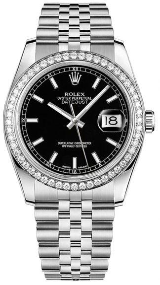 replique Rolex Datejust 36 cadran noir Jubilee Bracelet montre 116244
