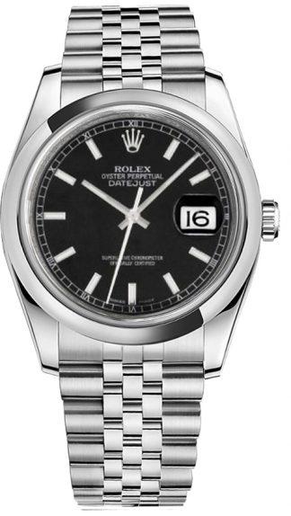 replique Rolex Datejust 36 cadran noir Jubilee Montre bracelet 116200