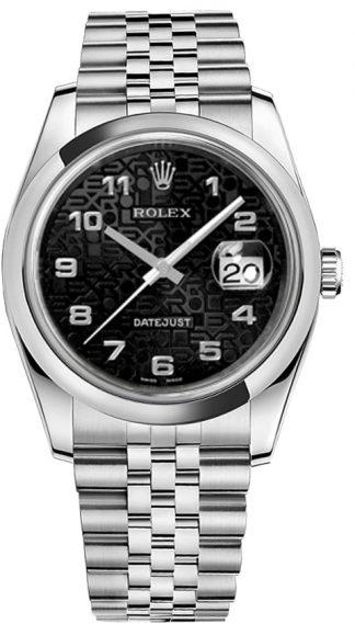 replique Rolex Datejust 36 cadran noir Montre en acier 116200
