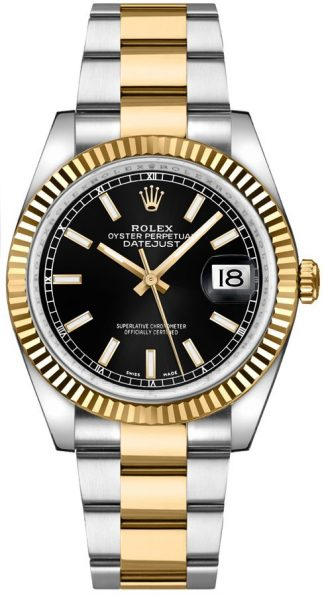 replique Rolex Datejust 36 cadran noir en acier et montre en or 116233