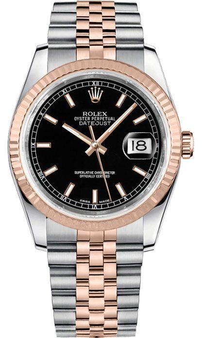 replique Rolex Datejust 36 cadran noir en acier et montre en or rose 116231