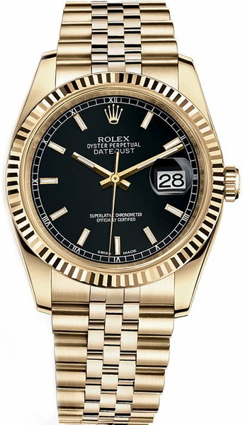 replique Rolex Datejust 36 cadran noir en or massif 116238