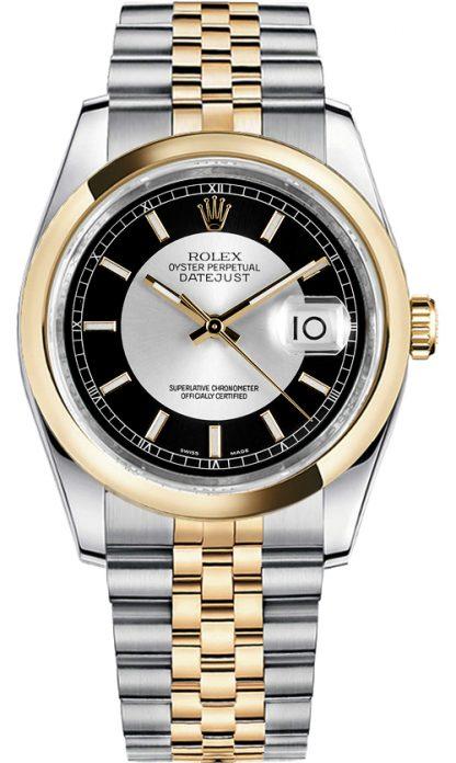 replique Rolex Datejust 36 cadran noir et argent 116203