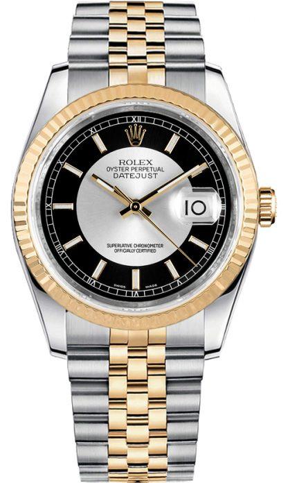 replique Rolex Datejust 36 cadran noir et argent 116233