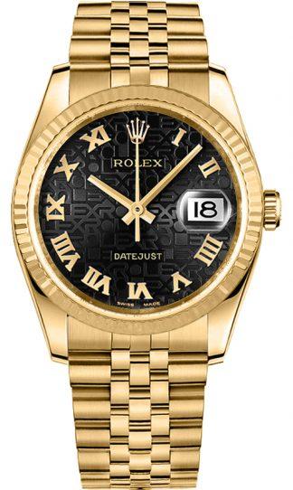 replique Rolex Datejust 36 cadran noir montre en or 116238