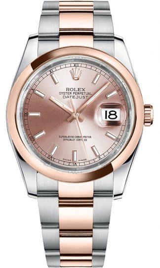 replique Rolex Datejust 36 cadran rose or et acier 116201