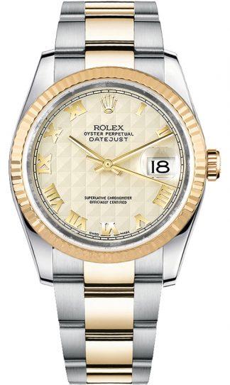 replique Rolex Datejust 36 ivoire cadran chiffre romain 116233