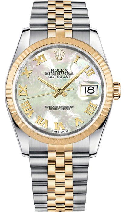 replique Rolex Datejust 36 nacre montre à chiffres romains 116233