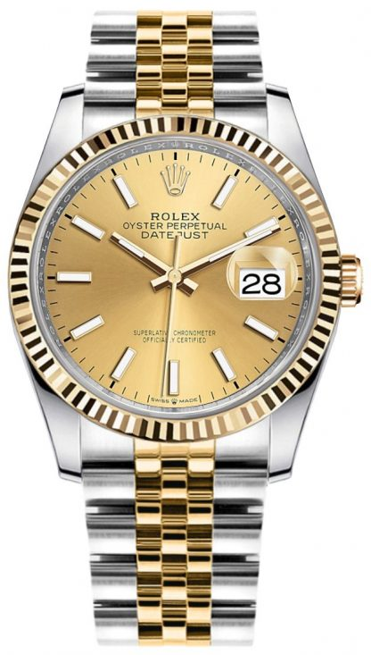 replique Rolex Datejust 36mm Gold & Steel Champagne Dial Watch 126233