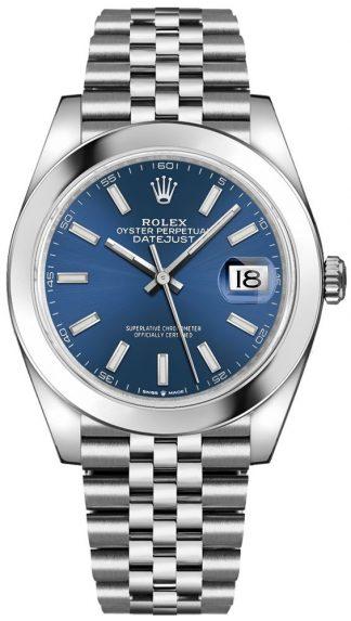 replique Rolex Datejust 41 Blue Dial Steel Men's Watch 126300