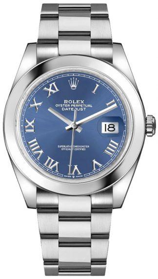replique Rolex Datejust 41 Blue Roman Numeral Dial Men's Watch 126300
