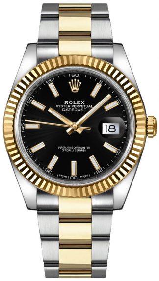 replique Rolex Datejust 41 cadran noir lunette cannelée Watch 126333