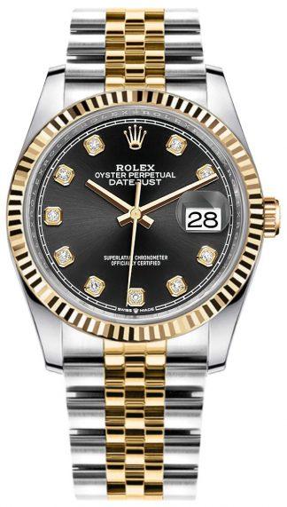 replique Rolex Datejust Black Diamond Women's Watch 126233