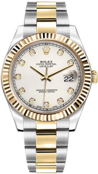 replique Rolex Datejust II 41 Ivory Diamond Dial Montre 116333