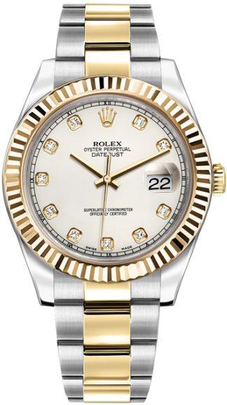 replique Rolex Datejust II 41 Ivory Diamond Dial Montre 116333