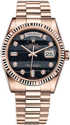 replique Rolex Day-Date 36 Black Diamond Dial Montre en or 118235
