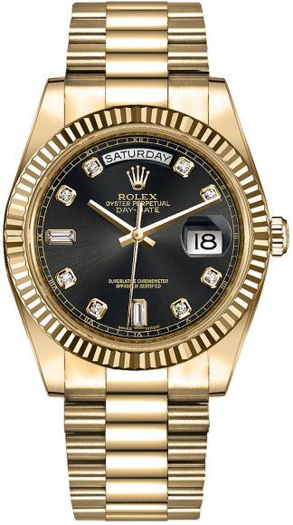 replique Rolex Day-Date 36 Black Diamond Dial Montre en or massif 118238