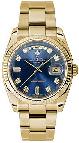 replique Rolex Day-Date 36 Blue Diamond Dial Montre 118238
