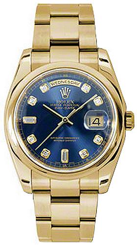 replique Rolex Day-Date 36 Blue Diamond Dial Montre en or 118208