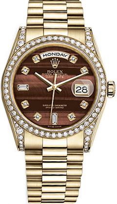replique Rolex Day-Date 36 Brown Diamond Gold Watch 118388