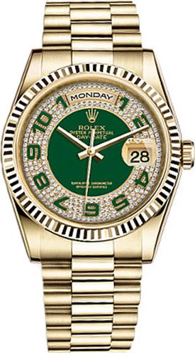 replique Rolex Day-Date 36 Green Diamond Pave Dial Montre en or 118238