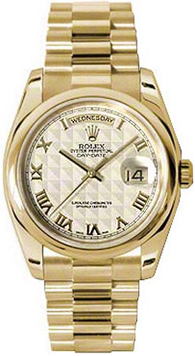 replique Rolex Day-Date 36 Ivoire cadran chiffre romain or Montre 118208
