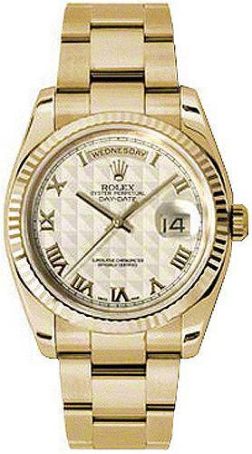replique Rolex Day-Date 36 Ivory Dial Montre en or 118238