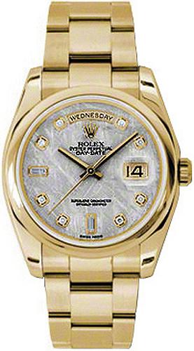 replique Rolex Day-Date 36 Montre à cadran diamant gris météorite 118208