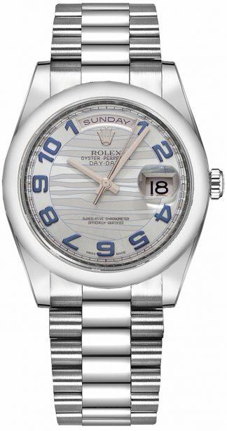replique Rolex Day-Date 36 Montre de luxe en platine pour homme 118206