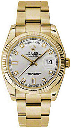 replique Rolex Day-Date 36 Silver Diamond Dial Fluted Gold Watch 118238
