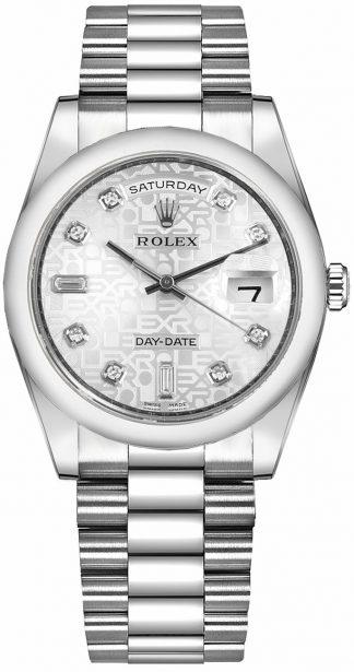replique Rolex Day-Date 36 Silver Diamond Dial Platinum Watch 118206