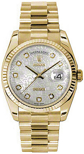 replique Rolex Day-Date 36 Silver Jubilee Diamond Dial Montre en or 118238