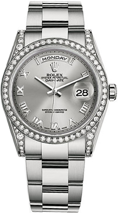 replique Rolex Day-Date 36 Silver Roman Oyster Bracelet en or Montre 118389