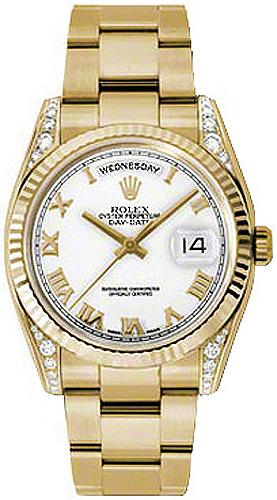 replique Rolex Day-Date 36 cadran blanc à chiffres romains en or 118338