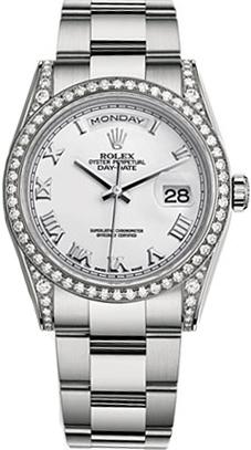 replique Rolex Day-Date 36 cadran blanc à chiffres romains en or 118389