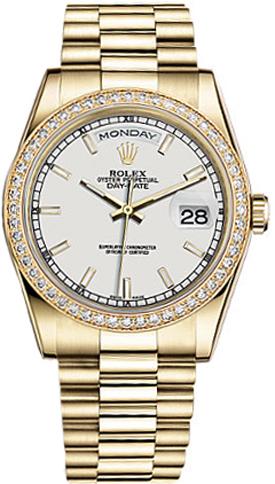 replique Rolex Day-Date 36 cadran blanc 18K montre en or 118348