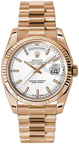 replique Rolex Day-Date 36 cadran blanc 18K montre en or rose 118235