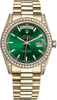 replique Rolex Day-Date 36 cadran vert montre en or 118388